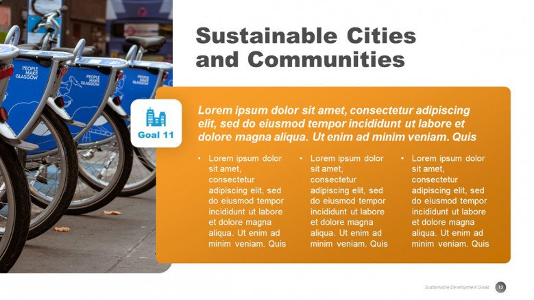 Sustainable Cities and Communities Slide for a SDGs presentation