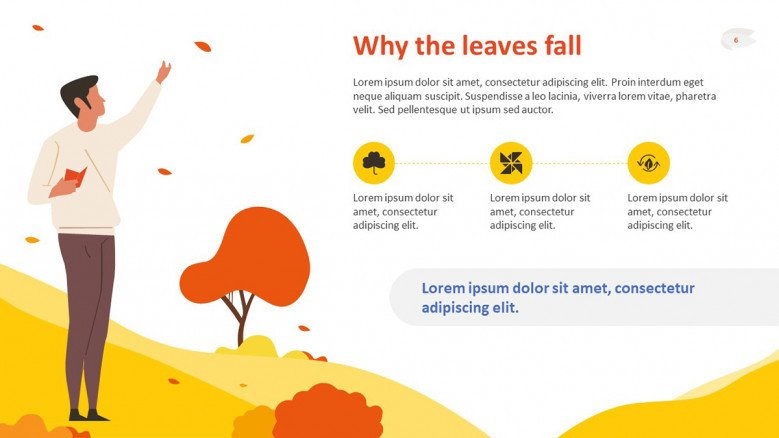 Yellow and orange text slide with icons and an autumnal forest as background