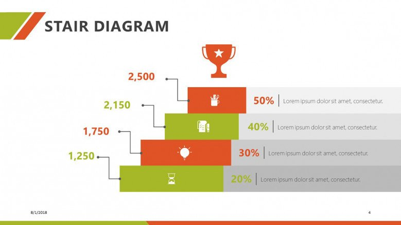 stair diagrams in five steps with icon and data information
