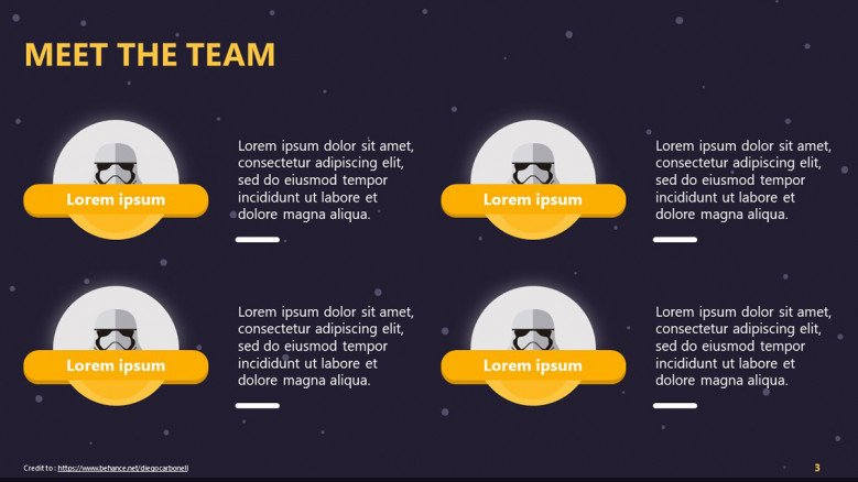 Creative meet the team slide with stormtroopers avatars