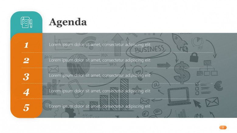 Agenda Slide with business doodles as background