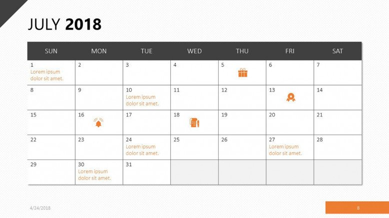 July 2018 calendar in orange theme