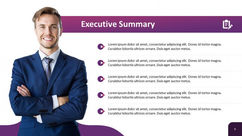 Executive Summary Slide for a Business Plan Presentation