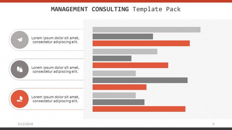 management consulting slide with bar chart and three segmented text