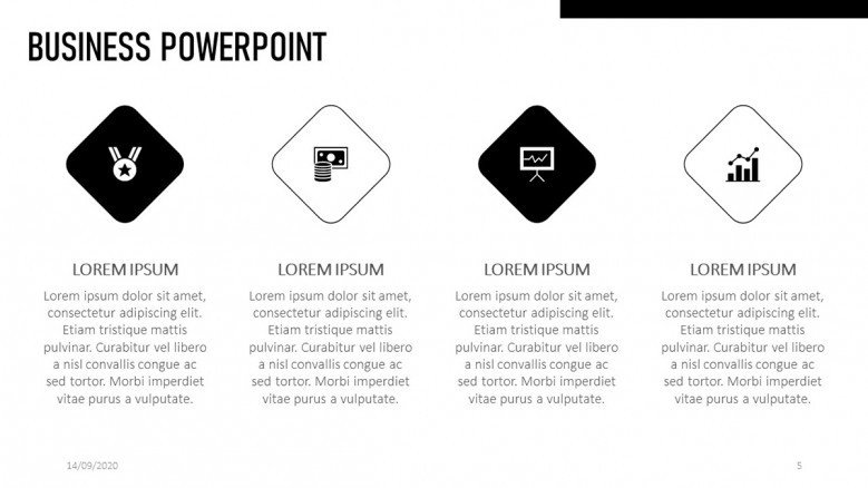 Business PowerPoint Slide in Black and white