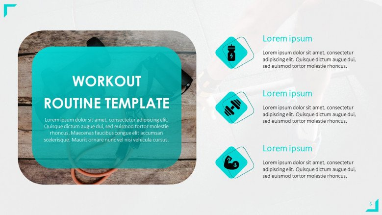 Workout Routine PowerPoint Template with fitness icons