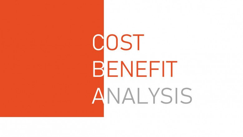 Cost Benefit Analysis PowerPoint Template in white and orange