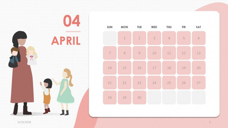 2019 calendar april in creative style with illustration