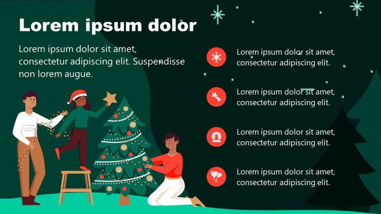Christmas PowerPoint Slide with an illustrations of a family decorating a Christmas tree