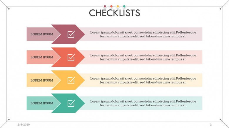 checklist presentation in key factor slide with description text box