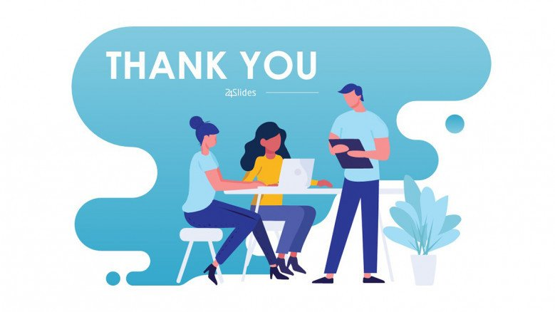 Illustrated light-blue thank you slide