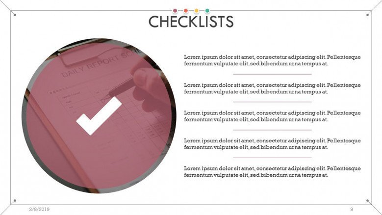 checklist overview slide in text