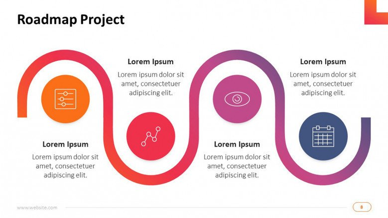 project management on technology infrastructure roadmap slide with four key steps in icons