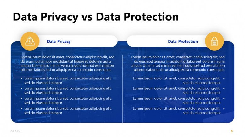 Data Privacy vs Data Protection PowerPoint Slide in blue