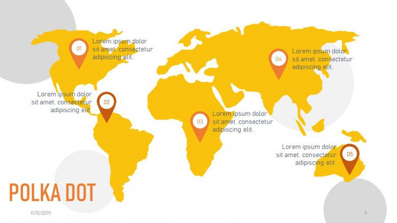 Dotted world map slide with orange map pointers