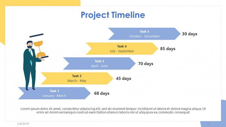 project timeline slide with five steps in stair chart