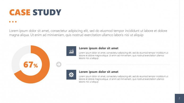 Client Case Study Slide for quantitative data with a data-drive pie chart