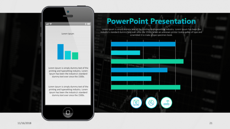 consulting presentation in mobile app with horizontal bar chart