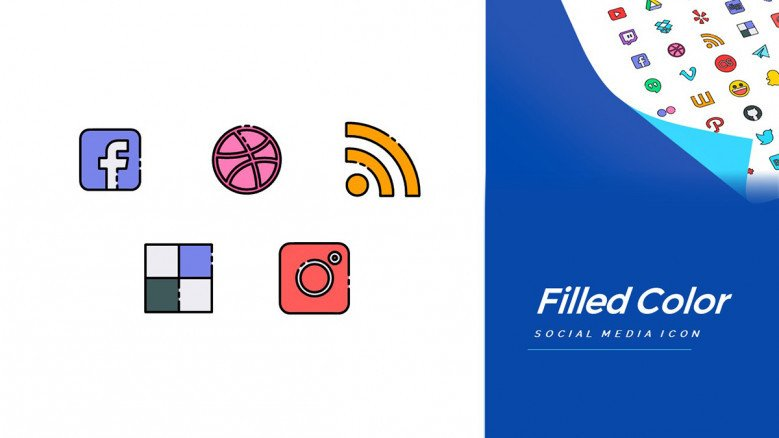 Color filled icons of Social Media apps