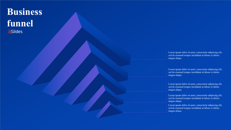 Business funnels presentation slide with different sizes of pyramid
