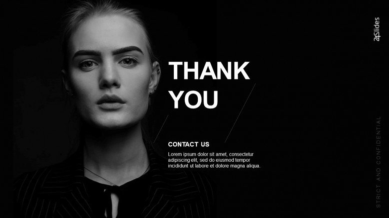 Elegant Thank You Slide in black and white