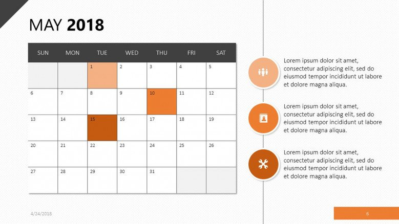 may 2018 calendar with bullet points and description