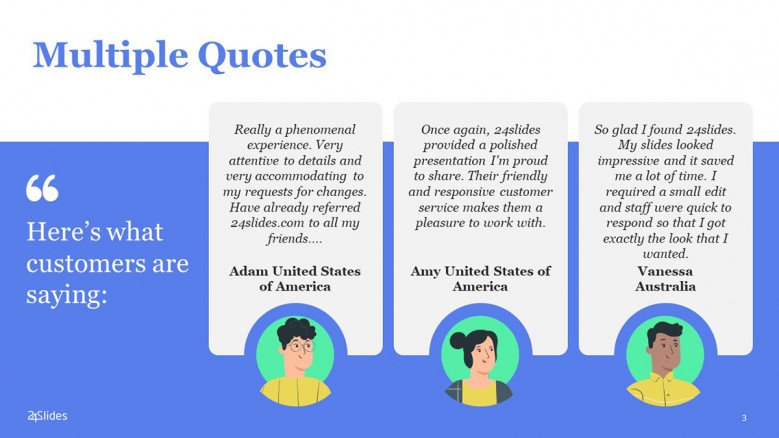 PowerPoint Quote Slide with three boxes