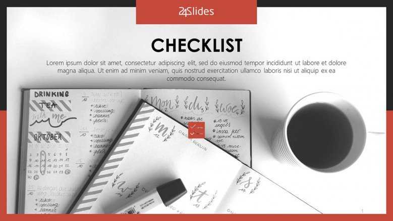 checklist on notes with pen and cup