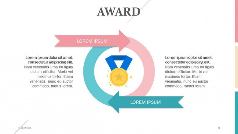 award slide in circle chart