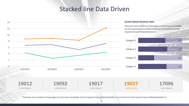 stacked line data driven chart for corporate data presentation