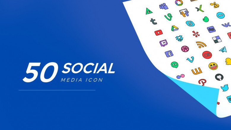50 Social Media Logos Pack in blue theme