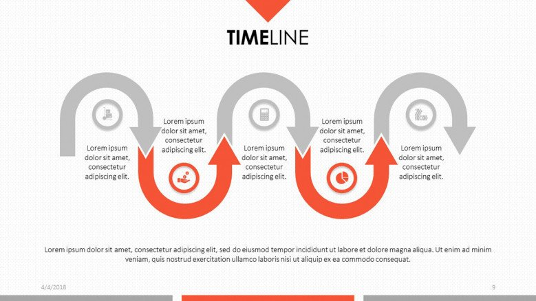 2 color icon and text timeline