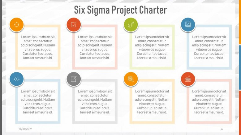 Text boxes for a Six Sigma Project Charter Presentation