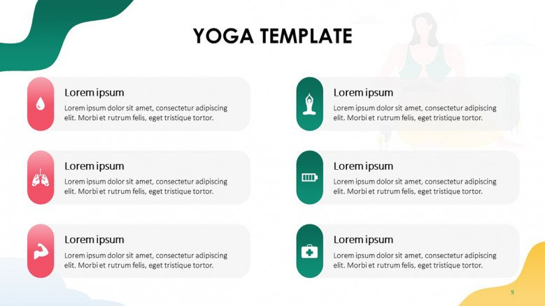 List of yoga benefits with colorful icons