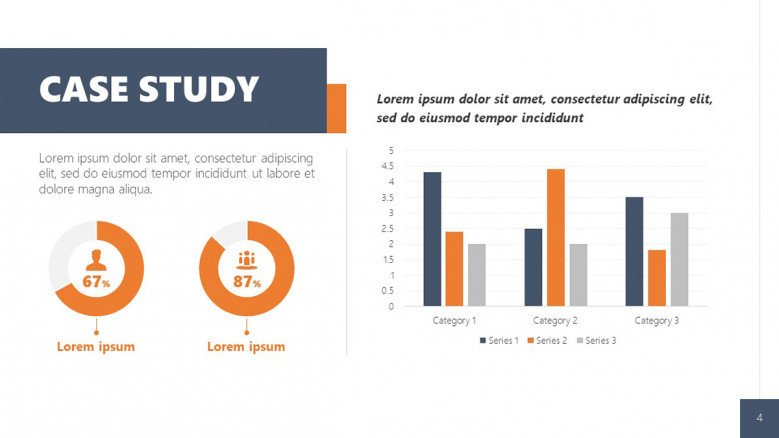 Case Study benefits Slide for hard data with data-driven pie charts and column charts