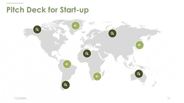 pitch deck for start up in world map slide