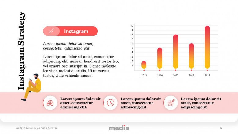 Instagram Strategy Template with playful column chart and icons