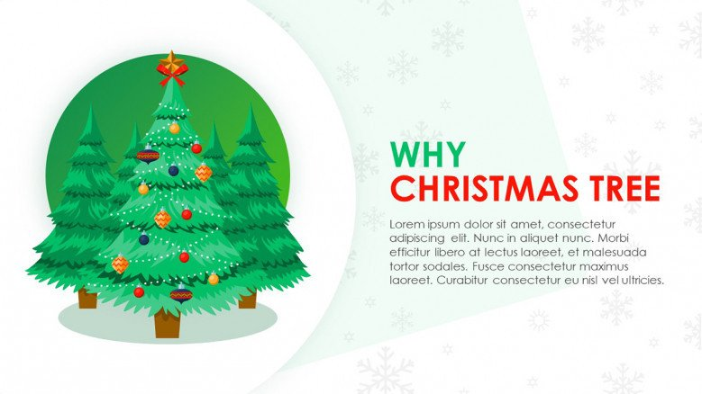 Playful Text Slide and festive Christmas tree image for a Christmas themed presentation