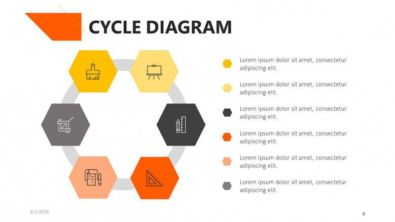 cycle diagram in six steps with description text