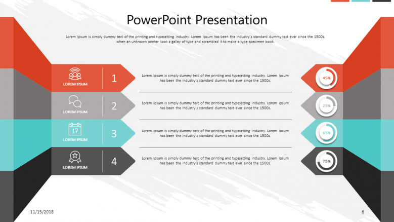 corporate presentation in text with four segments