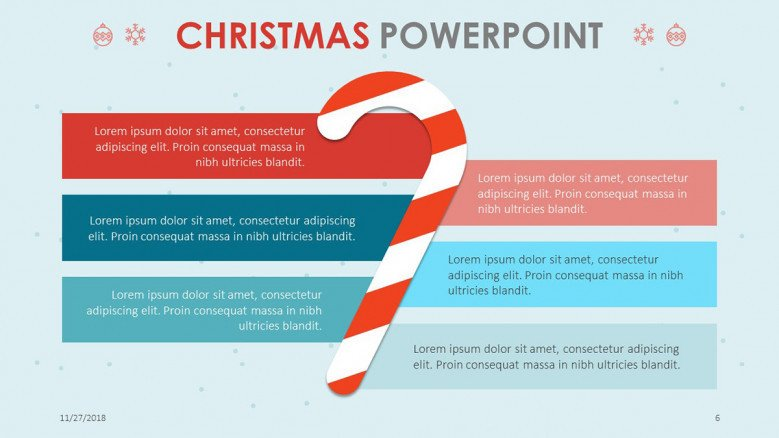 creative christmas theme slide with six key factors and candy cane illustration