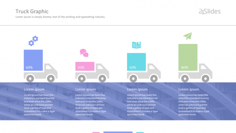 corporate product distribution process in illustrated trucks