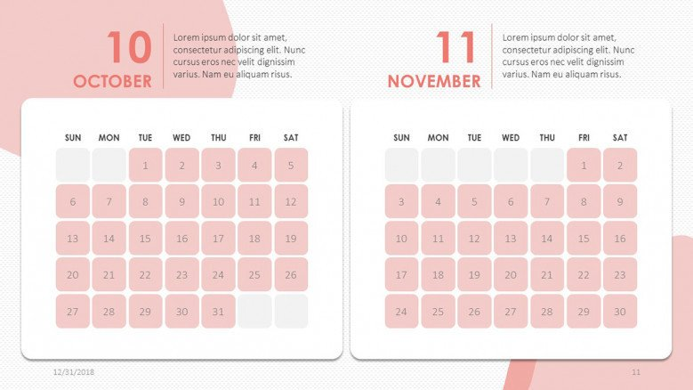 creative October and November slide in pink with text