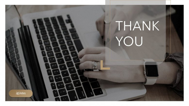 Elegant thank you slide in brown and grey colors