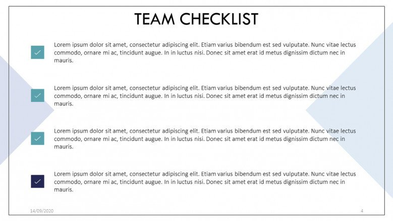 Simple Team Checklist Template