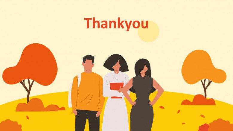 Thank you slide with a fall forest illustration and three young people