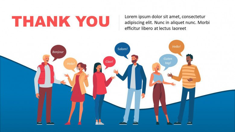 Thank You Slide with young people illustrations