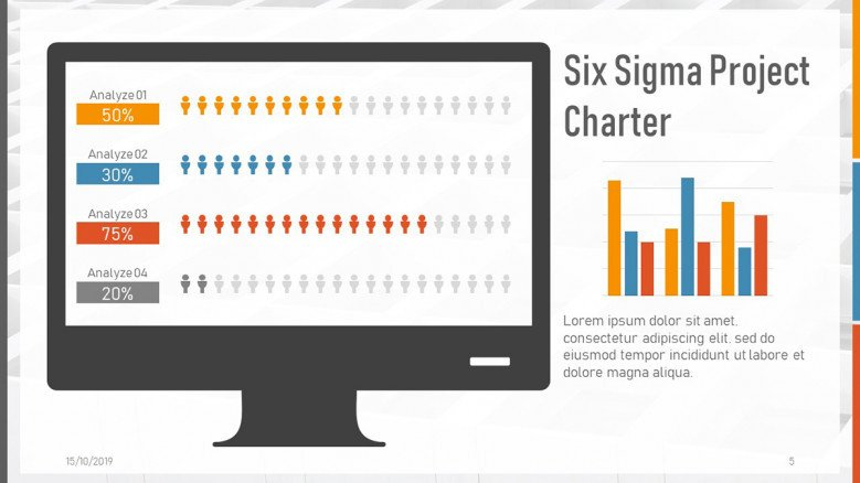 Data slide for a Six Sigma Project Charter Presentation