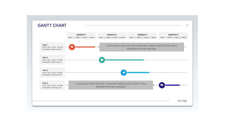 gantt chart with bold rows