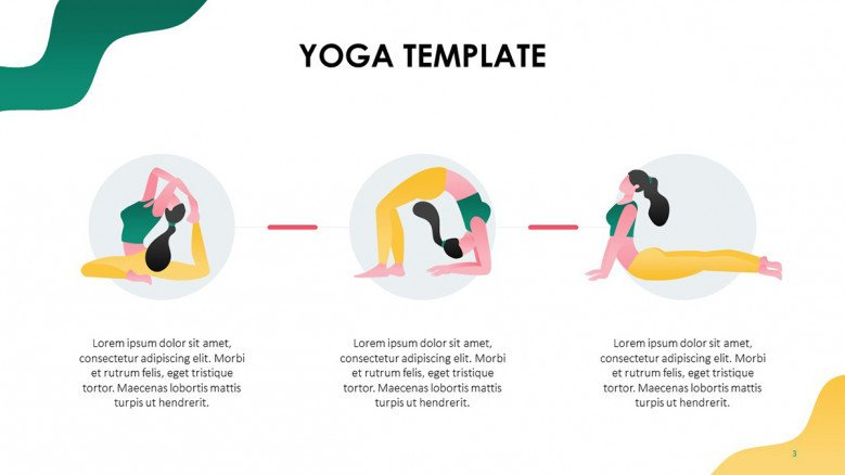 Yoga poses sequence with playful female illustrations